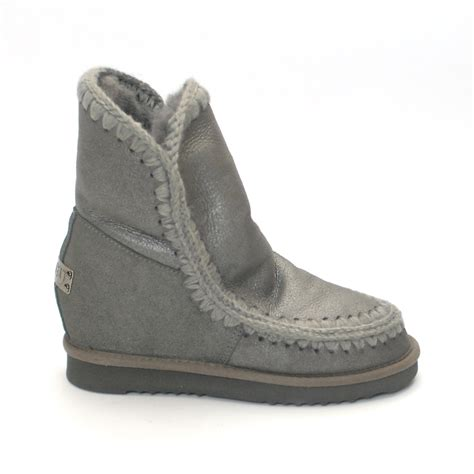 mou boots sale mou boots eskimo new metal grey inner wedge niutrack