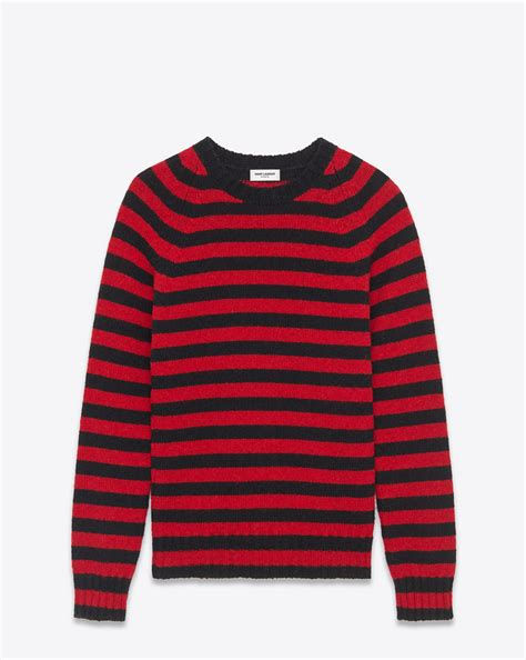 And Black Sweater laurent crewneck sweater in black and striped