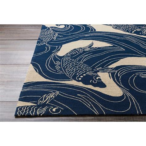 kana global coastal blue koi outdoor rug 3 x5