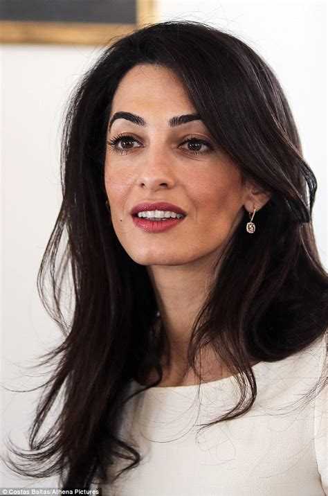 is amal clooney hair one length amal clooney looks sharp for meeting with greek prime