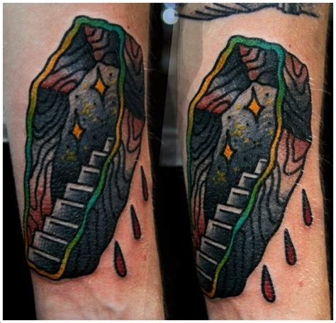 unusual coffin tattoo designs