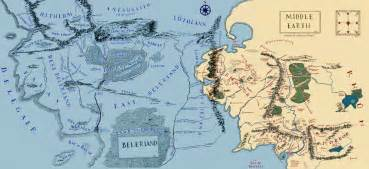 tolkien map middle earth what is the relationship between beleriand in the silmarillion and middle earth in lord of the
