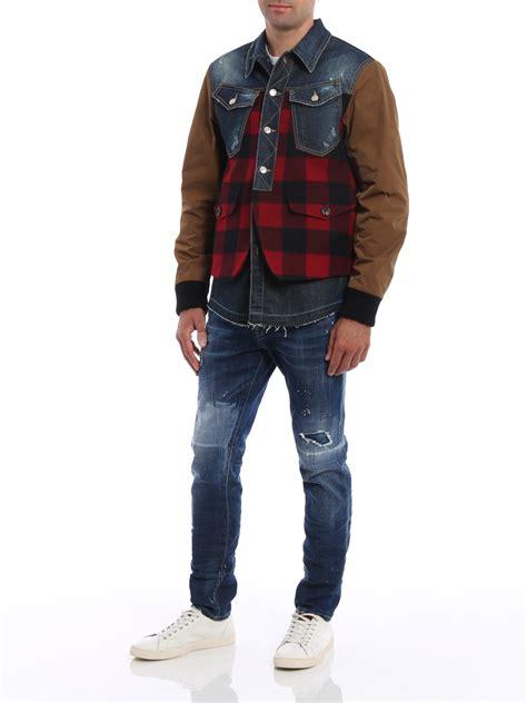 Buffalo Check Denim Jacket denim buffalo check jacket by dsquared2 casual jackets