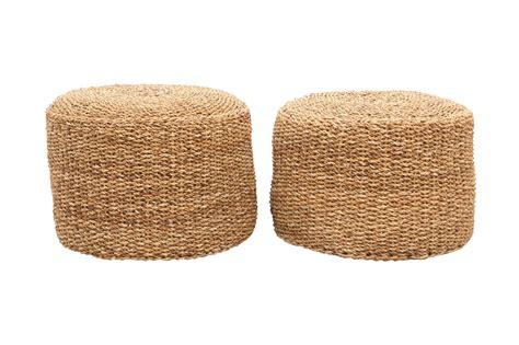 Jute Ottoman Jute Braided Ottomans A Pair Chairish