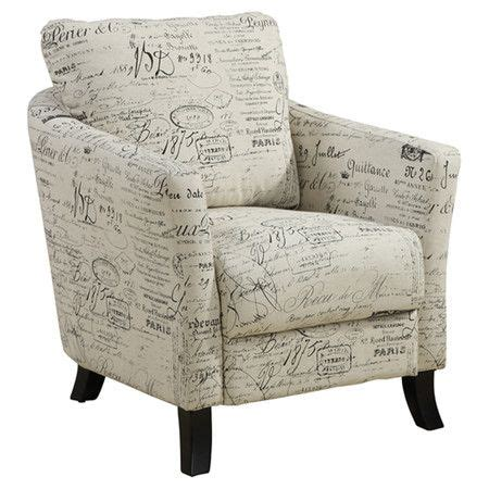 french script armchair upholstered arm chair with a french script motif and foam fill product accent