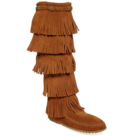 minnetonka five layer fringe boots in brown lyst