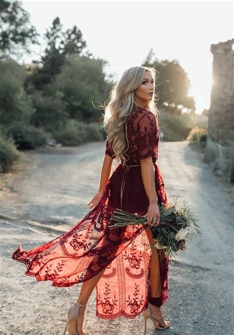 Maxi Lace Flowery burgundy floral chain lace flowy side slit v neck
