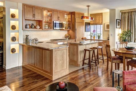 Kitchen Design Oak Cabinets Sectional Shaped Kitchen Designs With Oak Cabinets Mixed Grey Countertop Homes