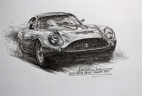 aston martin art works vintage cars pointillism