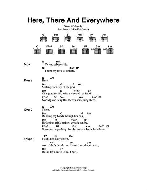 printable beatles lyrics here there and everywhere sheet music by the beatles