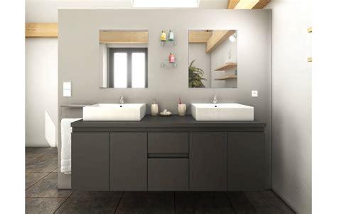 porte de meuble de salle de bain sur mesure meuble salle de bain gris mat 4 portes 2 tiroirs 2 vasques