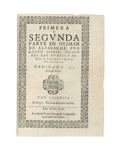guzmn de alfarache spanish alem 193 n mateo 1547 1615 primera parte dela vida del picaro guzman de alfarache brussels