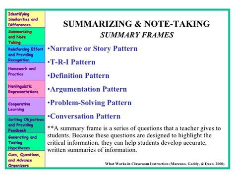 narrative pattern definition summarizing notetaking