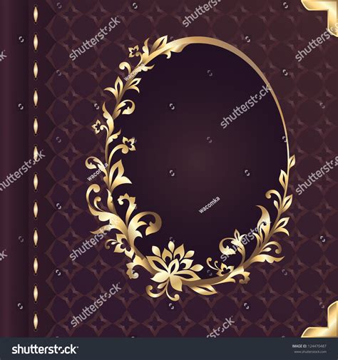 Wedding Decoration Gold And White Book Cover Design Decorative Golden Floral Stock Vector