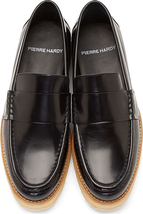 navy mens loafers hardy navy leather loafers in blue for lyst