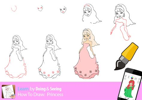 Drawn Princess Step By Step Pencil And In Color Drawn How To Draw A Princess Dress Step By Step Printable
