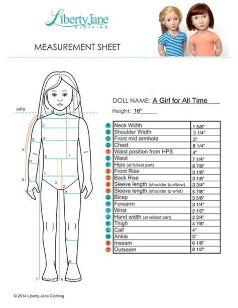 a girl for all time measurements liberty doll clothes pattern 16 inch a