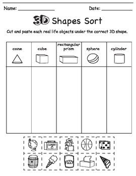Sorting Shapes Worksheets For Kindergarten by 3d Shape Sort Color Draw By Chikabee Teachers Pay Teachers