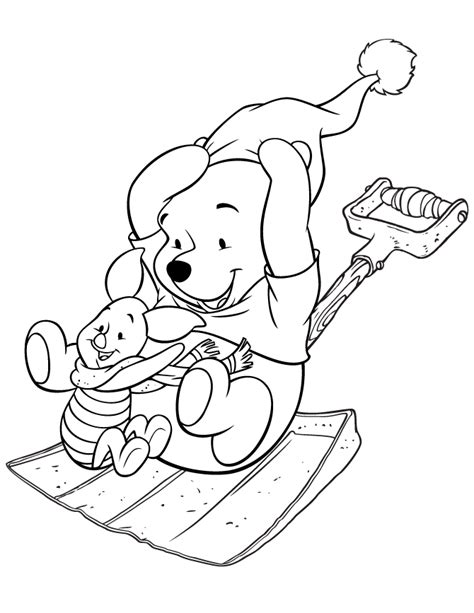 pooh bear and piglet sledding on shovel coloring page h