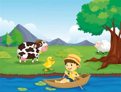 environmental boat cleaner farm scene stock photos image 24445723