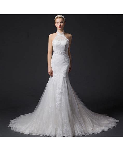 Chapel Wedding Dress by Mermaid Halter Chapel Tulle Wedding Dress