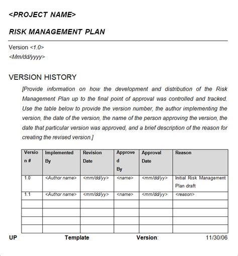exle of a risk management plan template risk management plan free word documents free