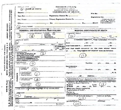 death certificate template blank death certificates