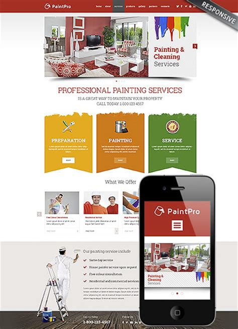 Professional Painting Responsive Wordpress Template Dynamic Responsive Website Templates Free