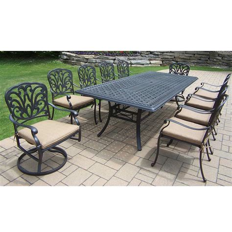 oakland living patio furniture oakland living hton aluminum 11 pc set with 102 x 46