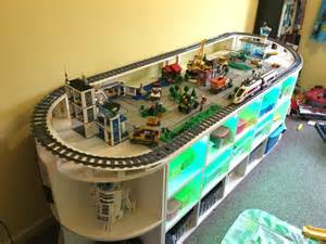 Curved Bookcase Diy Lego Table With Train Track And Storage Space For Toys