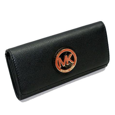 Clutch Wallet by Michael Kors Fulton Flap Contiental Genuine Leather Black