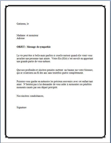 Modeles De Lettre Pour Un Deces modele lettre gratuit pour condoleances document