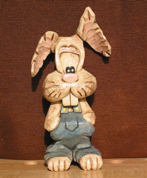 Rabbit Overall caricature bunny rabbit wood carving in bib overalls