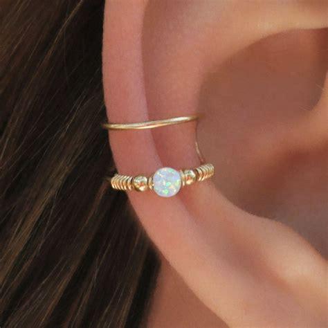 Ear Cuff wrap cuff white opal ear cuff ear cuff