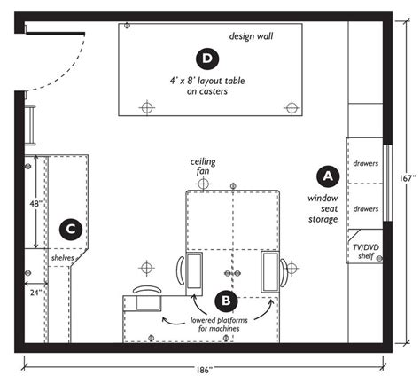craft room layout designs sewing room floor plans google search craft sewing