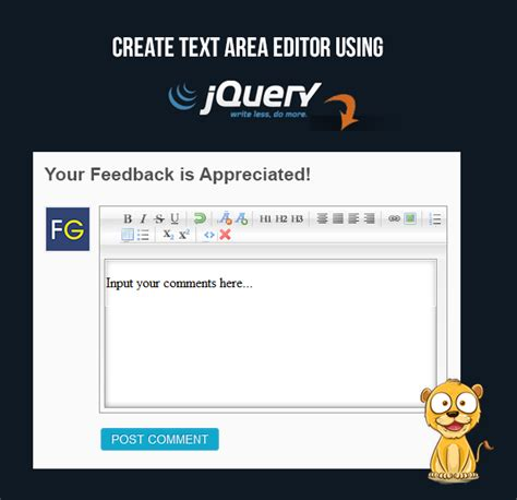 Jquery Design Editor | implementing jquery text editor in textarea formget