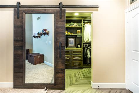 closet sliding door with mirror porter barn wood