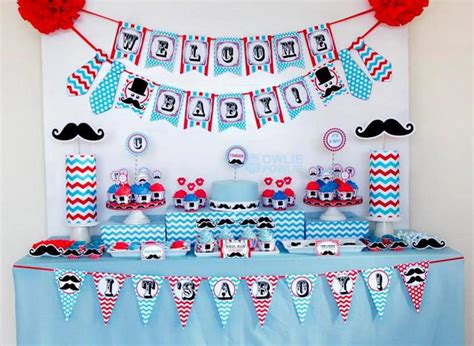 Mustache Themed Baby Shower Supplies by Kara S Ideas Mustache Baby Shower