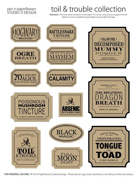 printable halloween jar labels apothecary jar labels toil trouble collection page 3