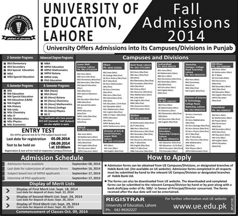 Admission Into Education Program Acceptance of education lahore fall admission 2014 form