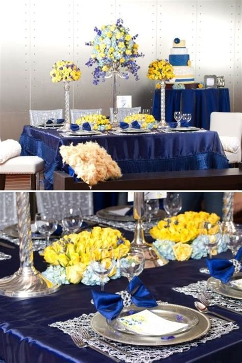 Yellow and blue table setting   Moore Wedding   Pinterest