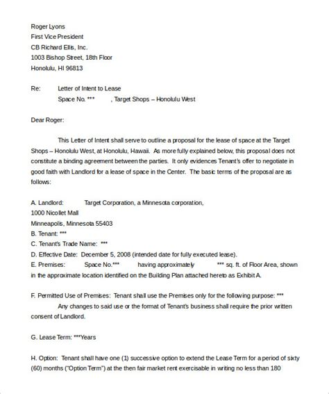Lease Letter Of Intent Template 10 Real Estate Letter Of Intent Templates Free Sle Exle Format Free