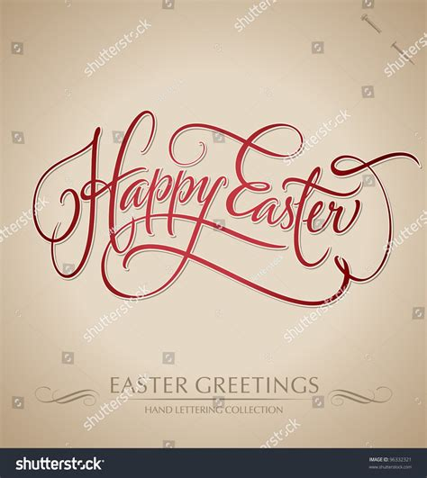 happy easter lettering handmade calligraphy stock