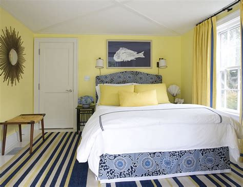 lemon yellow and beautiful blue in the stylish bedroom - Blue And Yellow Bedroom Ideas