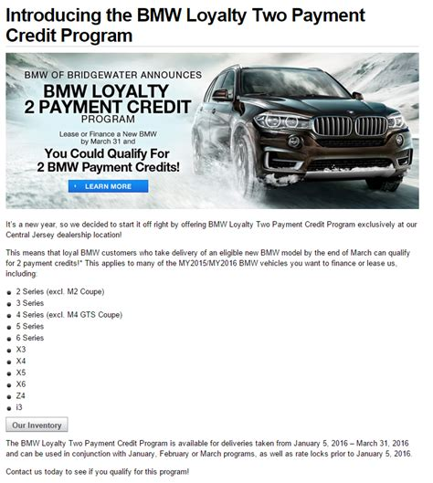 and loyalty 2 series 2016 bmw loyalty 2 payment credit program new