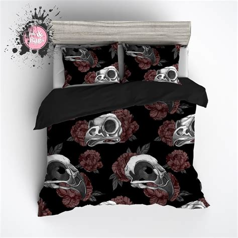 gothic bedding sets gothic maroon peonies and bird skulls bedding ink and rags