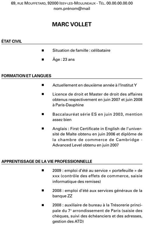 Présentation Lettre Français Bac Exemple De Cv Et De Lettre De Motivation Pour Mettre En Avant Ses Exp 233 Riences L Etudiant