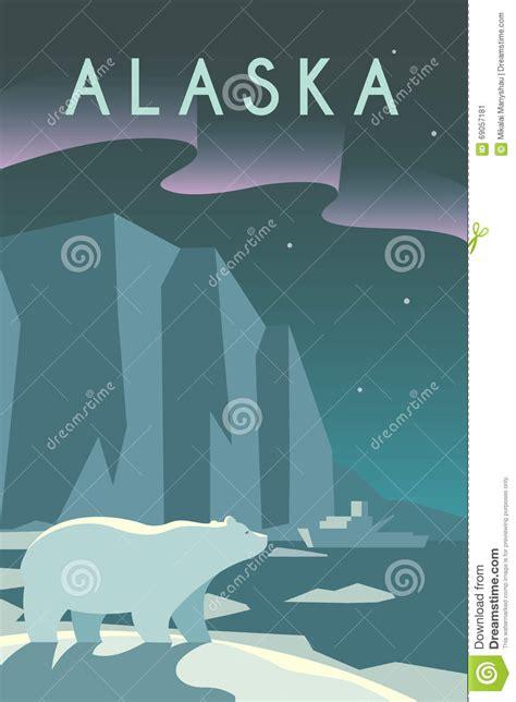 Design Graphics Alaska   art deco poster alaska stock vector illustration of