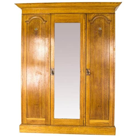 antique oak armoire wardrobe antique armoire triple mirror oak arts and crafts wardrobe