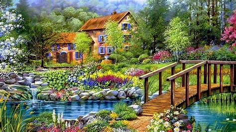 beautiful cottages pictures flowers beautiful cottage paintings lake sky bridge nature